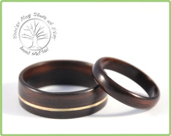 Ebony wooden wedding ring set. Couples ring set. Wedding ring wood. Custom made black rings.