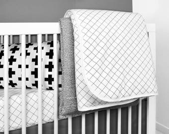 Grid Crib Quilt | black and white baby bedding | modern crib bedding | modern baby bedding | monochrome crib bedding | baby blankets modern