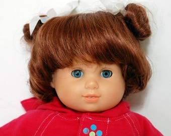 """Doll Wig 11"""" Auburn Pigtails Curls Short Reborn Toddler Baby Fits Bitty Baby"""