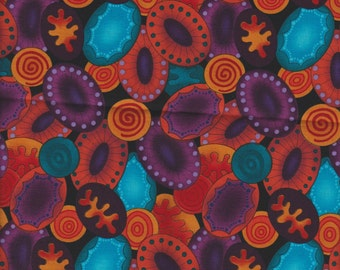 Bright Orange Teal Turquoise Circle Swirl Polka Dot Mod fabric curtain Valance