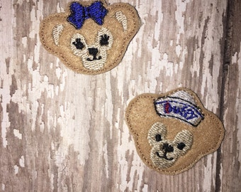 Set of 4 Mickey Bear Felties Cruise Bears Duffy ShellieMay Heads Face Feltie Felt Embellishment Bow! Felties Applique Party Planner Clip
