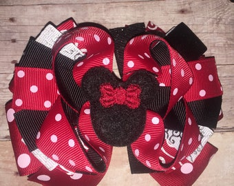 Girls Minnie Mouse Bow Mickey Clubhouse Boutique bow Hair Bow Hairbow with Feltie Center Alligator Clip French Barrette FOE Headband