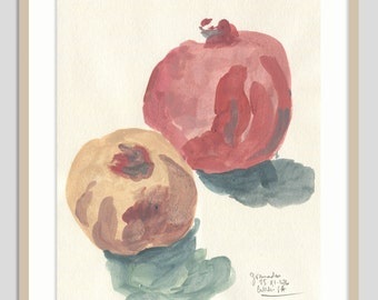 Pomegranate painting ORIGINAL gouache painting - pomegranate still life - pink fruits original wall art by Catalina