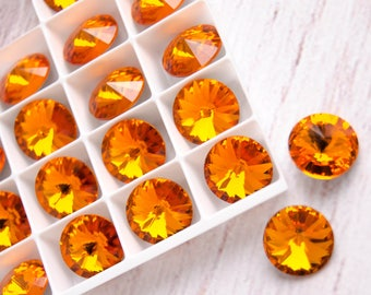 2pcs 12 mm Swarovski Crystal Rivoli Stone 1122 Tangerine