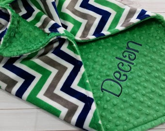 Personalized Minky Baby Blanket, Boy Minky Blanket, Boy Baby Blanket, Chevron Minky Blanket, Monogrammed Baby Blanket