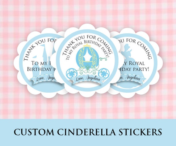 Cinderella Favor Tags, PRINTED Cinderella Party Goody Bag Stickers, Self Adhesive Princess Stickers