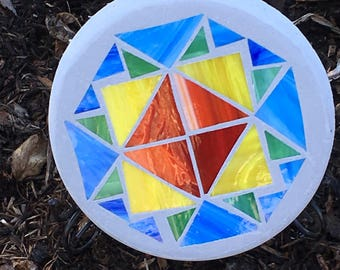 "A ""Blue Quilty"" Mosaic Stained Glass Stepping Stone 10"" Round"