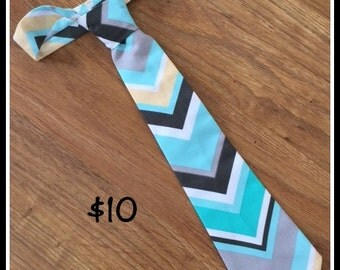 Little Boy Handmade Necktie / Light Blue Chevron Tie