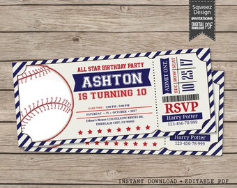 Baseball Invitations, Baseball Birthday Invitations, Baseball Ticket, Baseball Party Invitations  - Instant Download Editable PDF