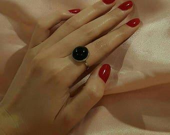 Minimal Vintage Sterling Silver Moody Black Enamel Ring