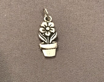 Flower in Pot .925 Sterling Silver Charm