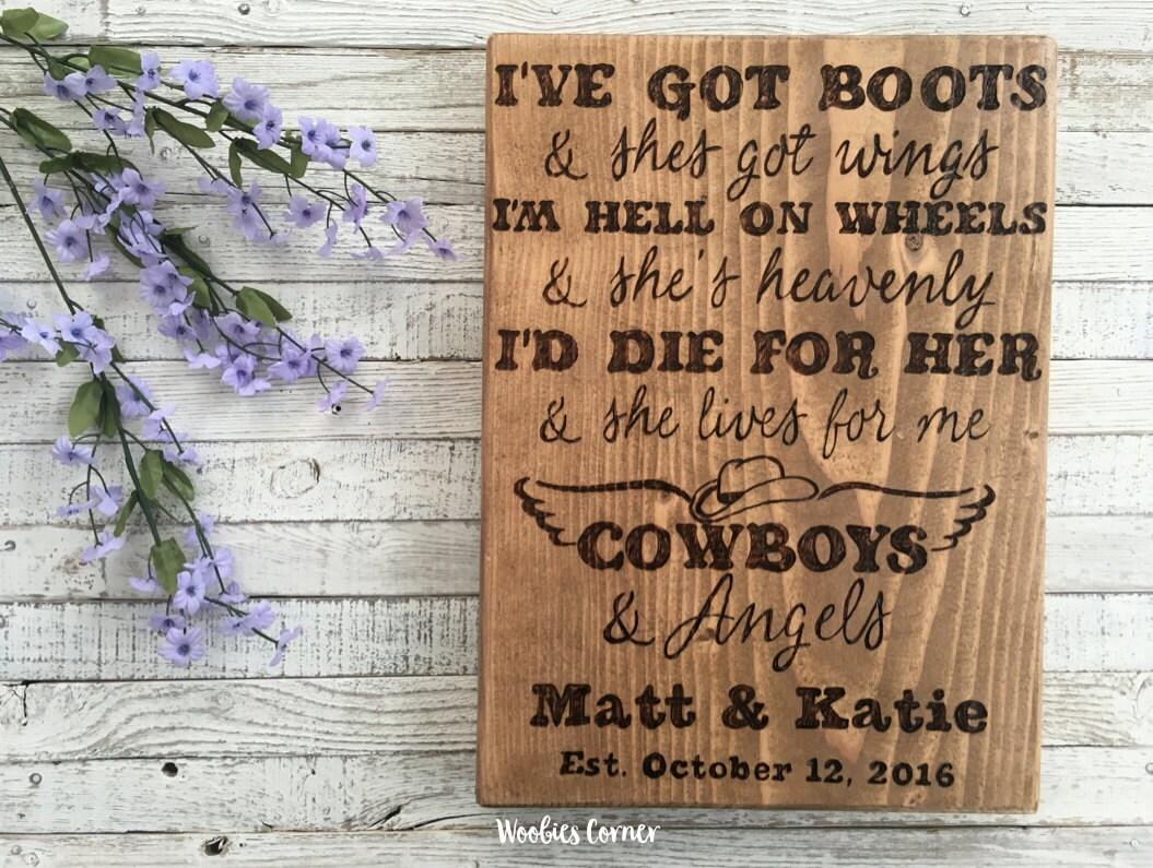 Cowboys And Angels Wedding Song Lyrics Wedding Song Gift