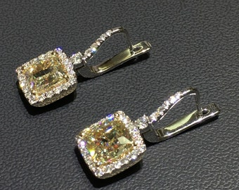 Yellow Diamond Earrings, Diamond Halo Earrings, White Gold Earrings, Gold Halo Earrings, Diamond Gold Earrings FREE SHIPPING