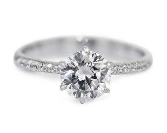14K White Gold 6 Prongs Diamond Engagement Ring 1.98 Carat Round  F SI2 14K White Gold #J73123  FREE SHIPPING