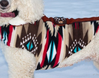 Fleece Dog Coat - Raindance Taupe with Faux Fur Collar