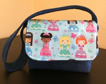 Kids messenger bag,princess messenger bag,denim bag