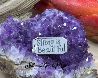 Strong Is Beautiful Charm, Strong Is Beautiful Pendant, Strong Is Beautiful Quote Charm, Sterling Silver Charm, Fitness Charm, PS01656