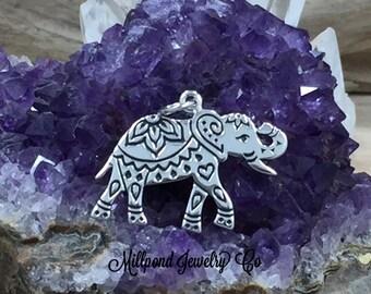 Elephant Charm, Lucky Elephant Charm, Indian Elephant Charm, Thai Elephant Charm, Sterling Silver Charm, Silver Pendant