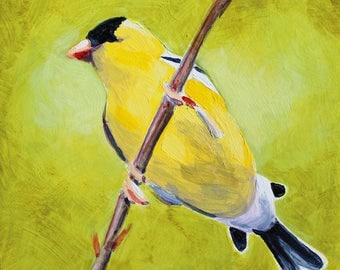 "Goldfinch Bird Songbird Yellow Bird Original Bird Painting Acrylic on Board 4""x4"""