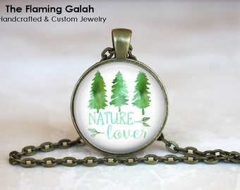 NATURE LOVER Pendant •  BoHo Quote •  Peace •  Tranquility •  Forest •  Wildlife • Gift Under 20 • Made in Australia (P0823)
