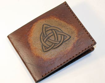 Leather wallet with triquetra, brown wallet, great leather item, brown men's wallet, credit card wallet, gift for men, leather wallet.
