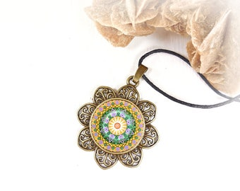 Mandala jewelry in buddhist style; zen necklace for spiritual awakening; necklace perfect for birthday gift idea and best friend.