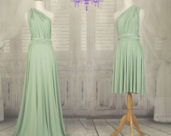 Sage green bridesmaid dress infinity Dress Convertible Formal,wrap dress party dress Evening dress -C43# B43#