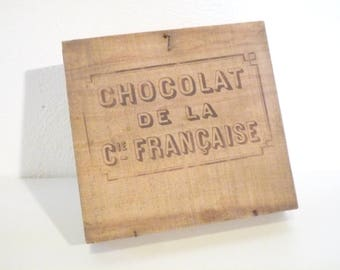 Chocolate French company Old wooden box 1920 1930 Chocolat Cie  keepsake box French country Home Decor ...