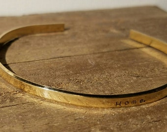 "Hand Stamped Cuff Bracelet 1/8"" - Made to Order - Brass"
