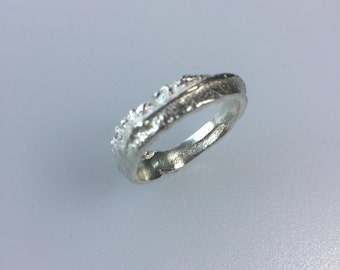 sterling silver sand cast ring