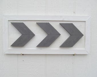 Arrow Chevron Wall Art ~ Wood Painted In Grey & White