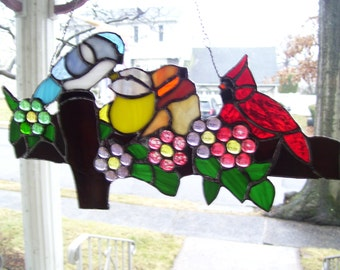 Stained Glass Bird on a Fence