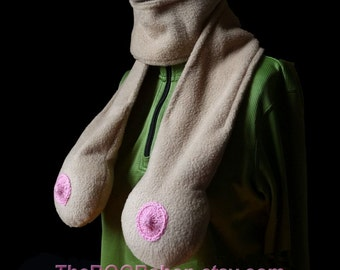 TAN Boob Scarf. Neck Knockers. Regular or Big Boobs. Fun Mardi Gras Accessory or Valentine's gift. White Elephant. Naughty Nice. Dirty Santa