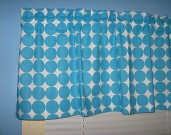Handmade Blue  Large Polka Dots on White  Window Curtain Valance