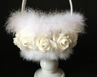 White Rose Flower Girl Basket