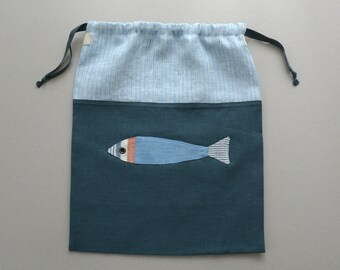 Toddler Travel Underwear Drawstring Bag - Nautical Linen Drawstring Bag - Boy's Travel Laundry Bag - Boy's Gift Bag with Fish - Swimwear Bag