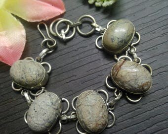 925 sterling Silver plated Picture jasper stone Beautiful charming Bracelet , gemstone Bracelet