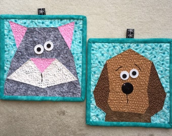 Kitty and Pup Paper Pieced Potholders Pattern in PDF