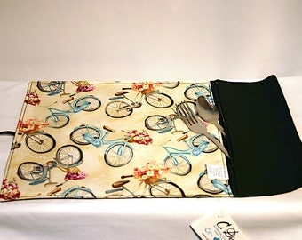 placemat rolled utensils  zipped pocket, bike pattern, rollable placemat, portable placemat, for Lunch box,