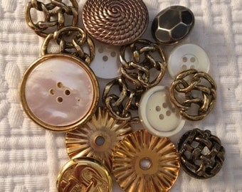 Collection of Fancy Assorted Metal and Mother of Pearl Buttons