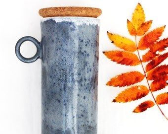 ceramic travel mug with handle and cork lid ~ blue-gray to-go cup / commuter mug with handle ~ large (16-18oz) travel mug with lid