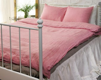 Linen pink melange SET of DUVET cover and PILLOW shams -linen sherbet rose bed set - rosy pink full/double /queen/king size linen bed set