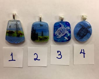 Horse and Coastal Theme Dichroic Glass Necklace Pendants.