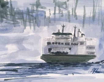 Pacific Northwest Ferry greeting card. ORIGINAL Watercolor painting 5X7. for him, father, ocean , Puget Sound, San Juan Islands, water