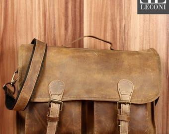 LECONI Briefcase business bag Messenger bag vintage leather olive LE3009-cra