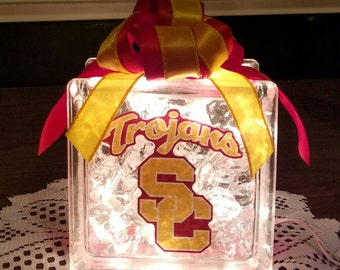 USC Trojans Lighted Glass Block and Decor, College Nightlight, Sports
