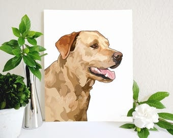Yellow Lab Art Print, Yellow Labrador Retriever Art, Labrador Art, Dog Art Print, Dog Wall Decor, Dog Wall Art, Golden Lab Wall Art,Labrador