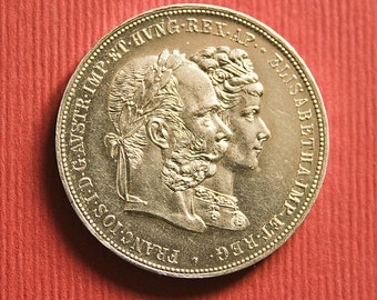 Vintage silver coin - Austria 2 gulden AU 900 proof