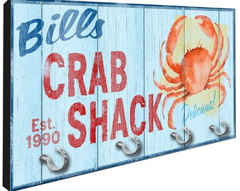 Personalized Crab Shack Key Rack from Redeye Laserworks