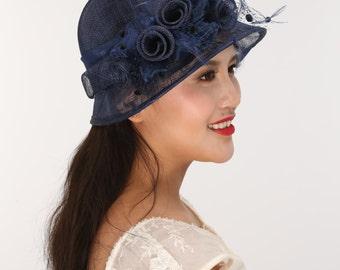 Fancy Small  Brim Kentucky Derby Floppy Slant Top Bucket with  Organza Rose Flowers  Millinery Church  Hat Navy Blue